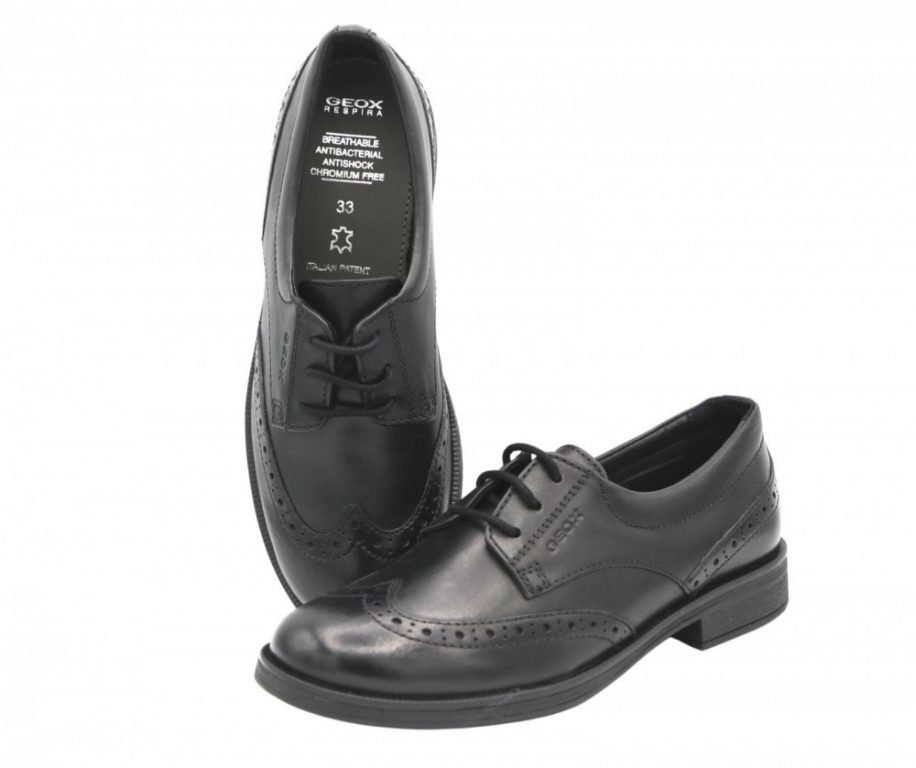 Geox Agata Lace Up School Shoes Black Leather