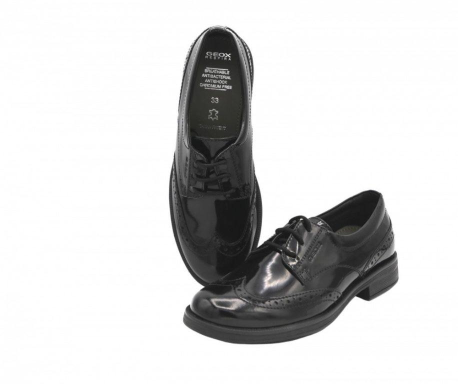 Geox Agata Lace Up School Shoes Black Patent