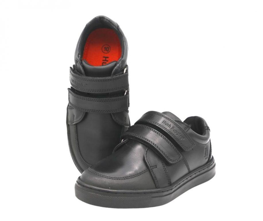 Hush Puppies Santos Black Leather School Shoes