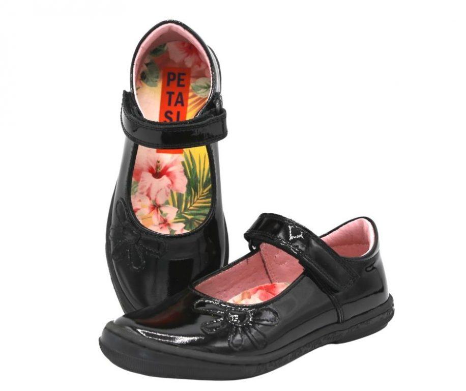 Petasil Donna Black Patent School Shoes