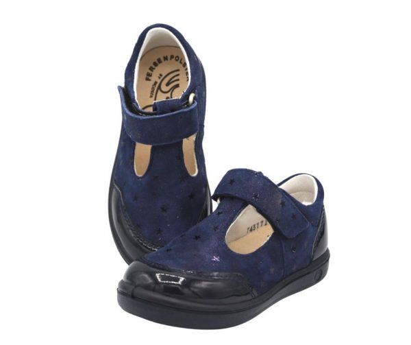 Ricosta Winny Navy T-Bar Girls Leather Shoes